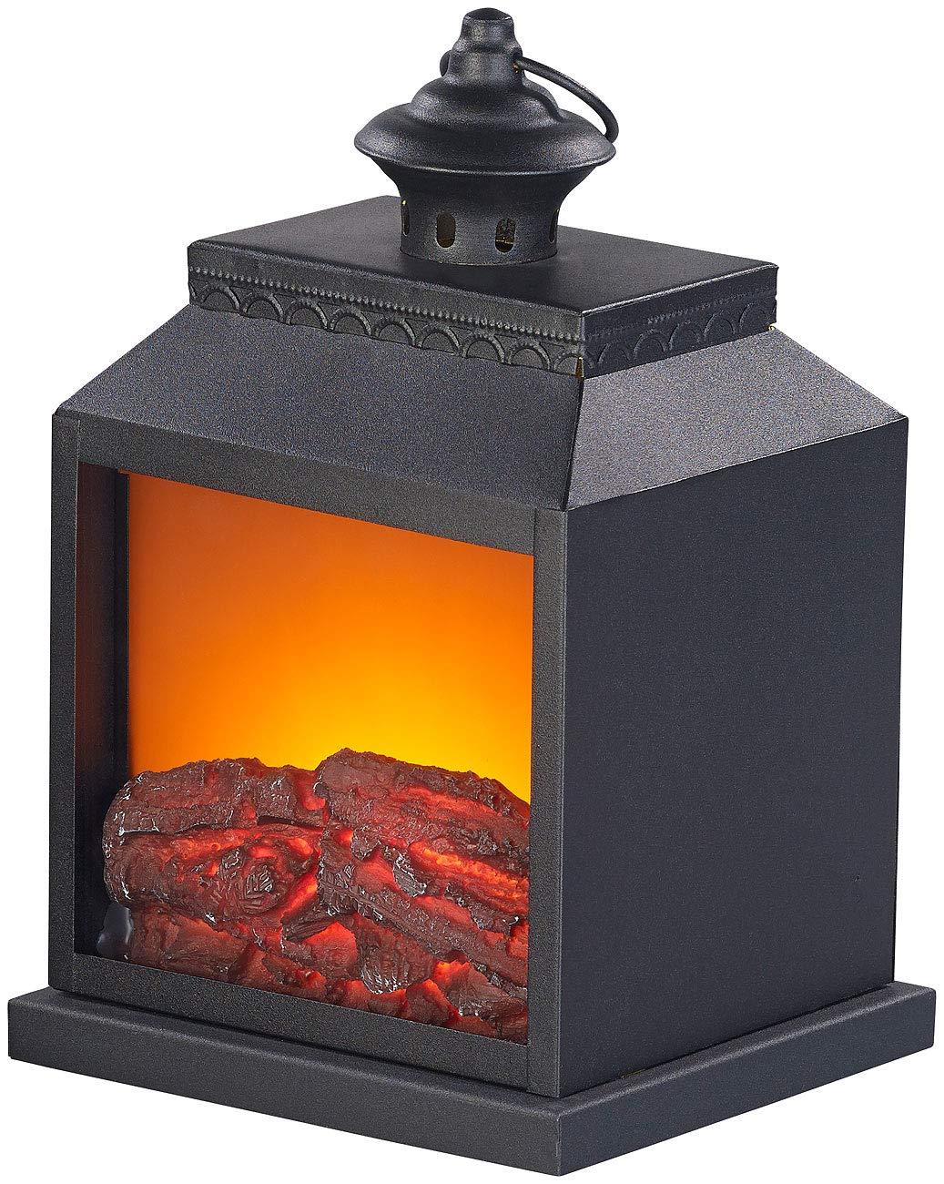 *Carlo Milano LED Kaminfeuer: Elektro-Deko-Kamin mit Echtflammen-Optik, Batterie-Betrieb, 27 cm Höhe (Indoorkamin)*