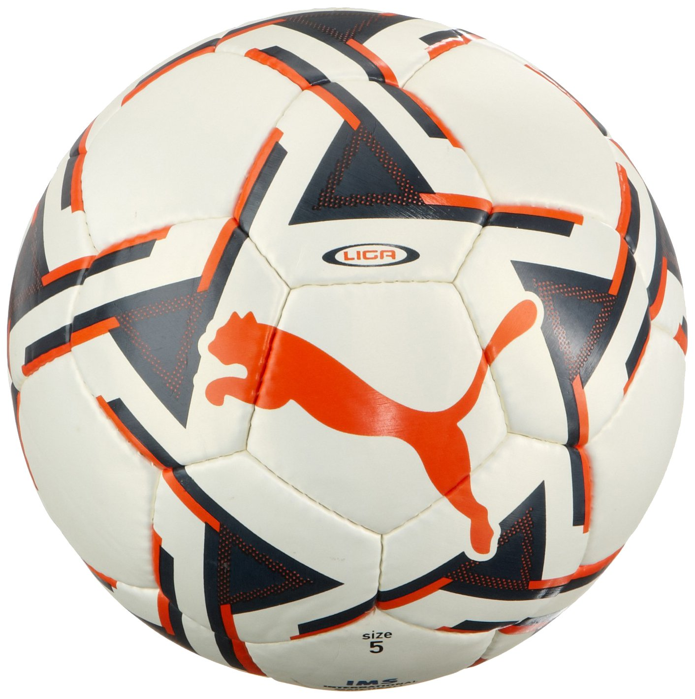 PUMA Liga de fútbol (SiO Approved), White-Azul-Team Orange, 5 ...