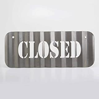 product image for Surf To Summit Rectangle Open or Closed Sign Vintage Plasma Cut Corrugated Steel Hand Restroom Sign Rustic Metal Sign Restaurant Home Shop Wall Bathroom Sign (Closed)