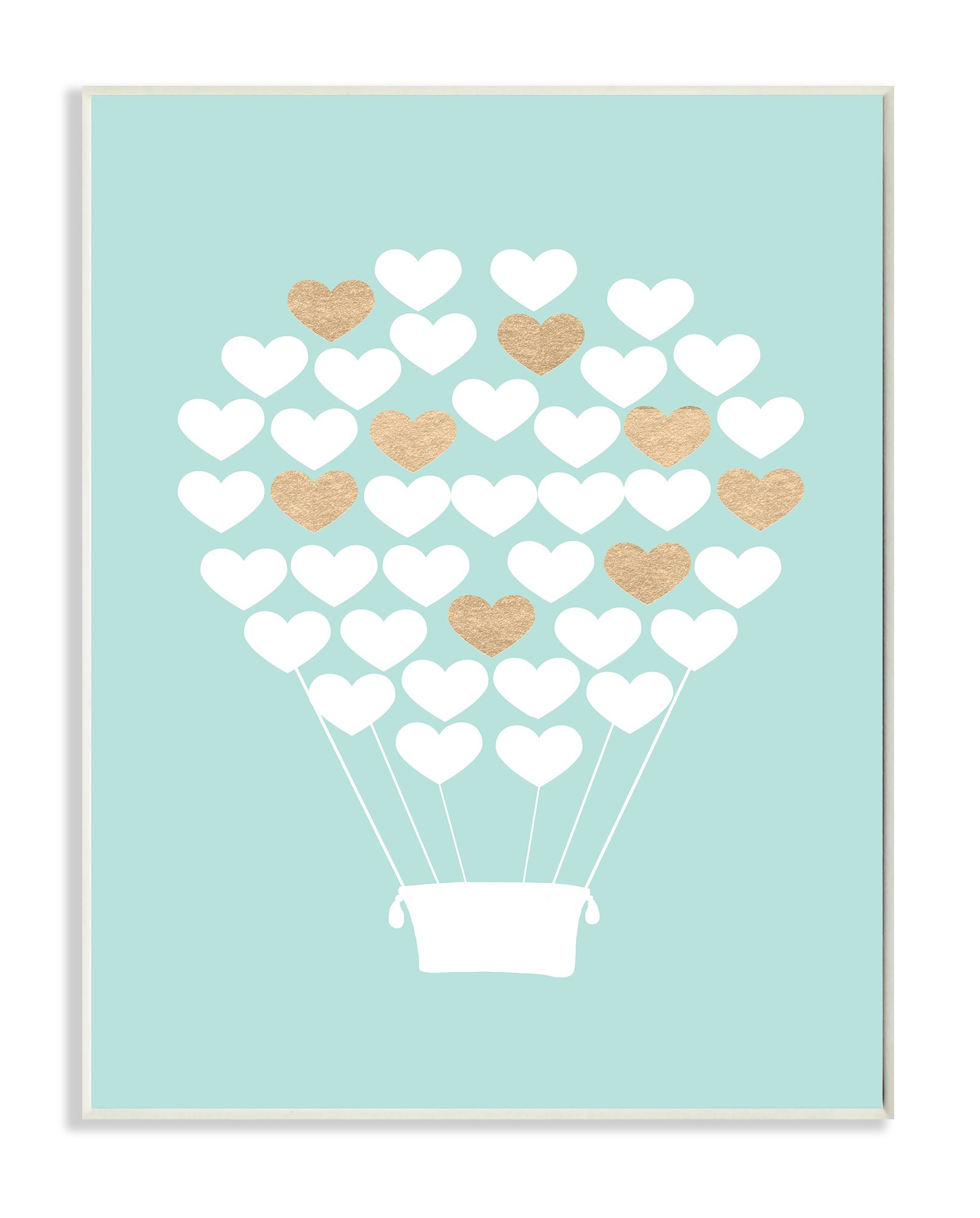 Stupell Home Décor White Gold Teal Heart Hot Air Balloon Wall Plaque Art, 10 x 0.5 x 15, Proudly Made in USA by The Kids Room by Stupell