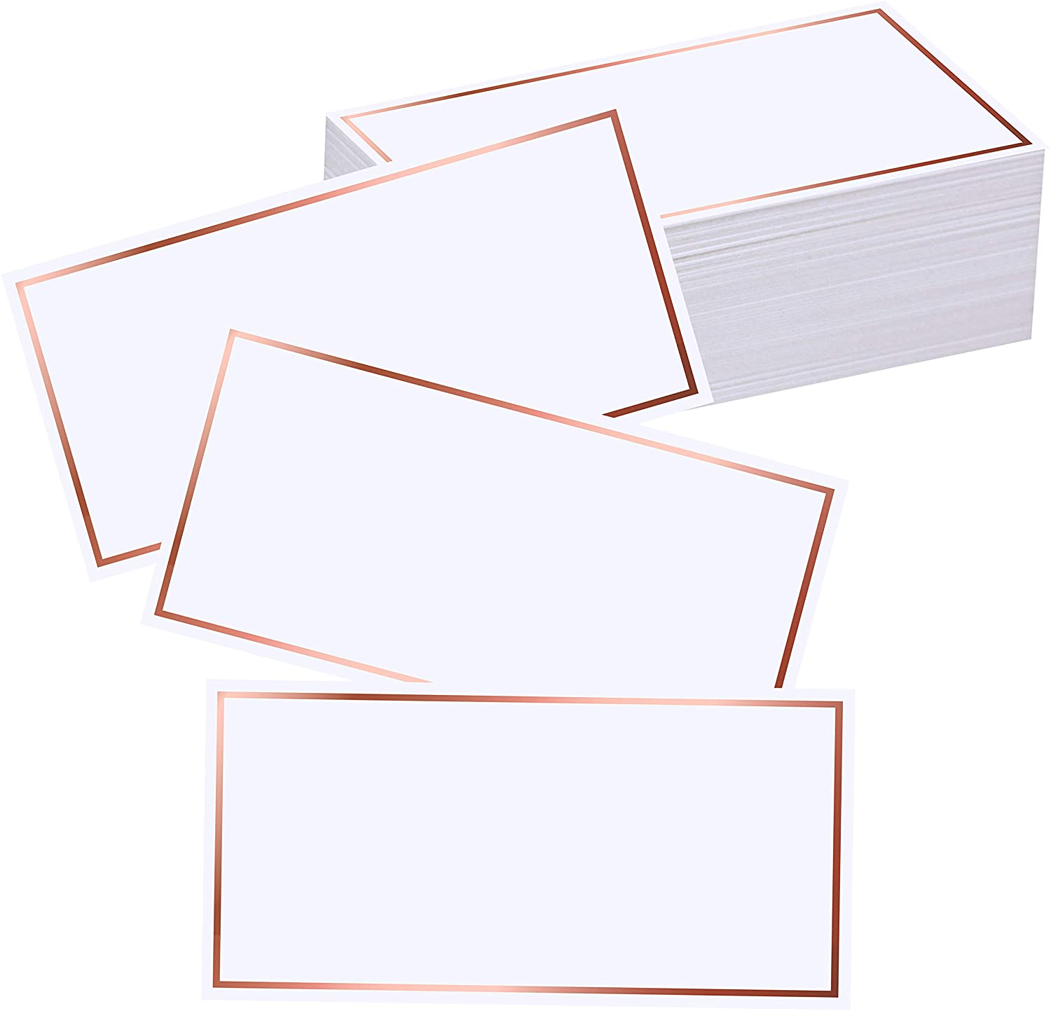 EXQUISS 50 Pcs Rose Gold Foil Border Place Cards Name Tags Seating Cards Blank Place Cards White Cards Reserved Cards Perfect for Wedding Reception Party Birthday Baby Shower Event - 4 x 2 inches