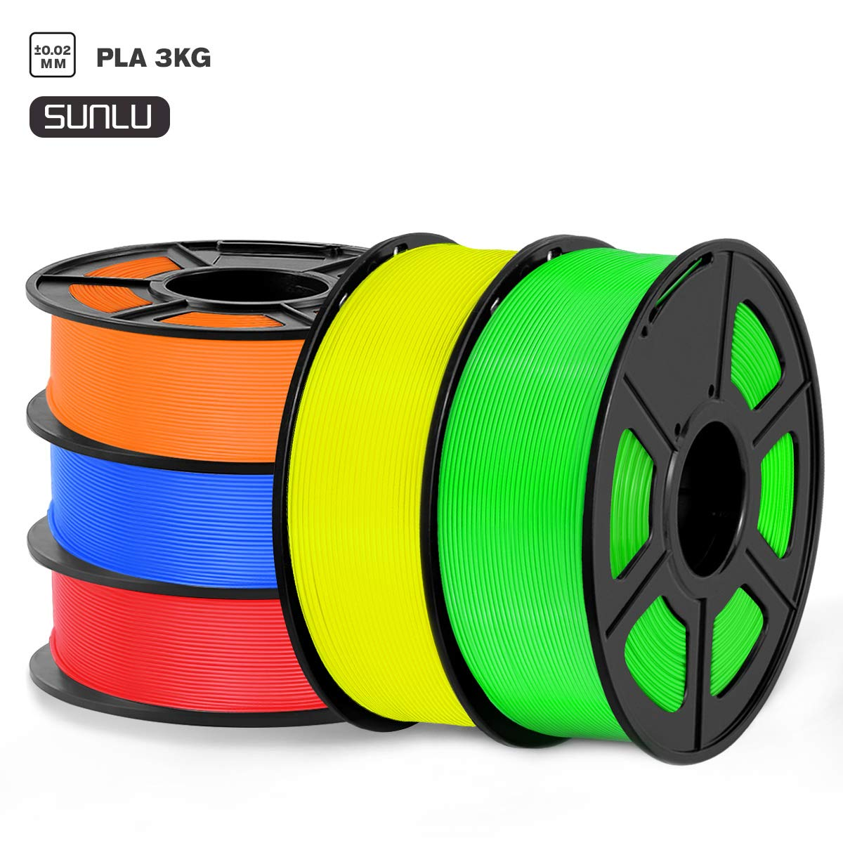 SUNLU Filamento PLA 1.75mm 5kg Impresora 3D Filamento, Precisión Dimensional +/- 0.02 mm, PLA Azul,Rojo,Amarillo, Verde + Naranja
