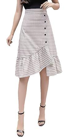 Faldas Mujer Verano Elegante Cintura Alta Fashionista A Cuadros ...