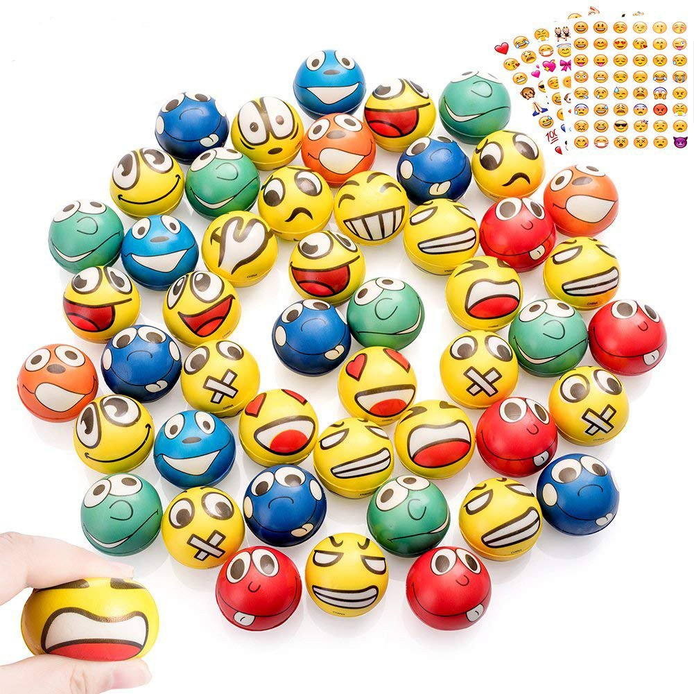Shallylu 48Pcs Emoji Stress Balls, Stress Reliver Party Favors Emoji Face Squeeze Foam Ball Toys for Birthday, Holiday, Therapy Gift with 4 Sheets Emoji Stickers