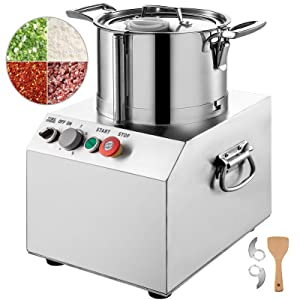 VBENLEM 110V Commercial Food Processor 15L Capacity 1400W Electric Food Cutter 1400RPM Stainless Steel Food Processor Perfect for Vegetable Fruits Grains Peanut Ginger Garlic