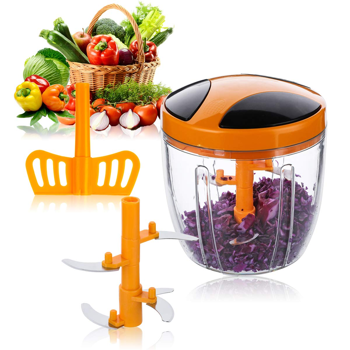Haipei 900 ml Food Choppers Kitchen Essential Vegetable Processor Chopper Orange Multifunction Manual Food Chopper, Pull String Blender with 5 Sharp Stainless Steel Blades Groopmoon