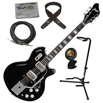 Supro 1582 VJB Coronado II Vibrato para guitarra eléctrica en Jet Negro w/gamuza de geartree, cable, soporte, sintonizador, y Lock-It correa: Amazon.es: ...