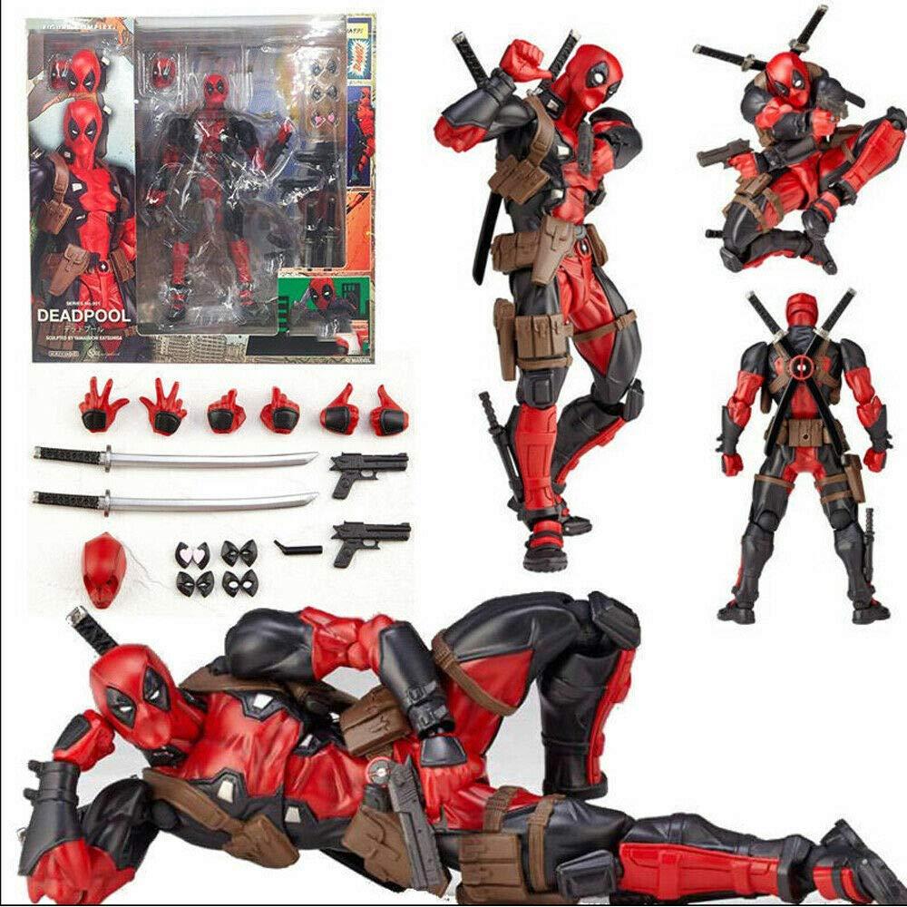 GOODKSSOP Joint Flexible Movable Amazing Yamaguchi Revoltech Kaiyodo DP Deadpool X-Men Classic Character Action Figure Model Toy Xmas Gift (Red)