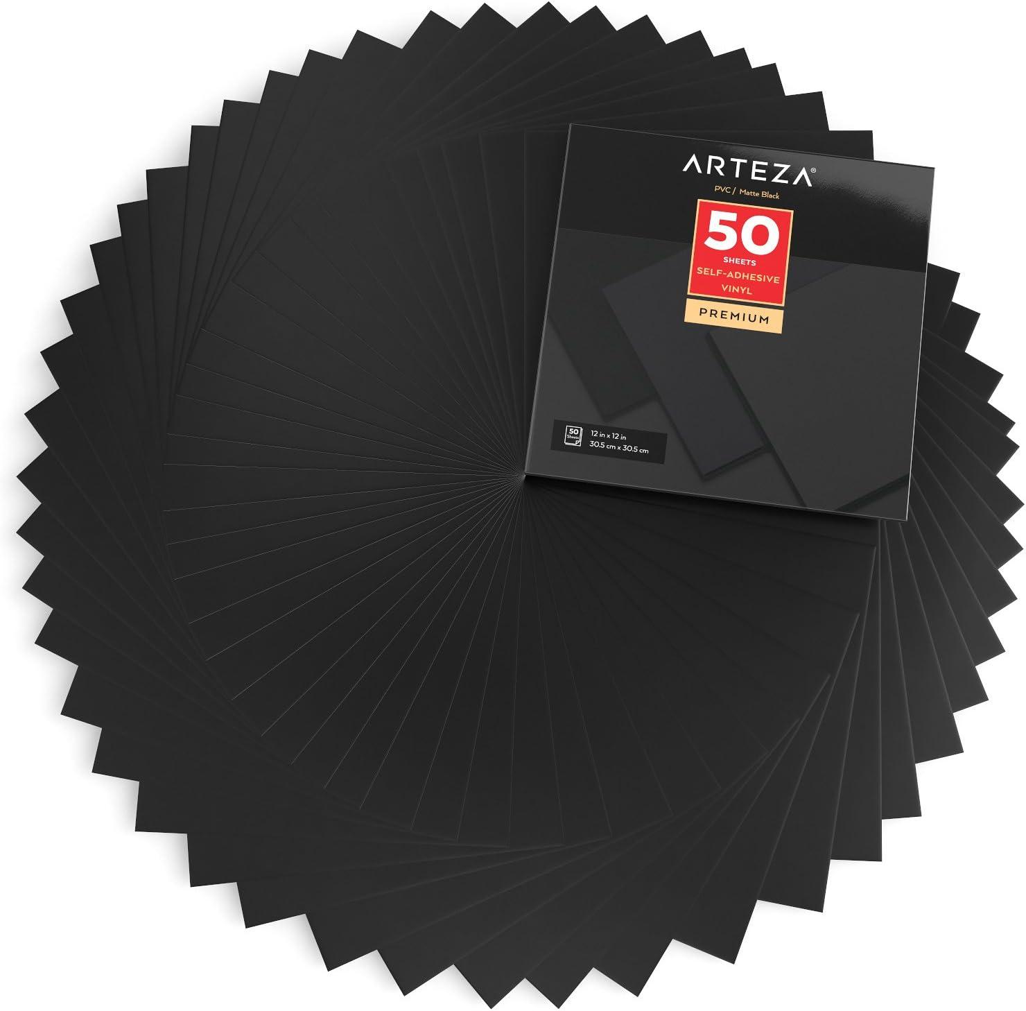 Arteza Láminas de vinilo adhesivo | Color negro mate | 50 hojas de pvc de 30,5 x 30,5cm | Vinilos impermeables para interiores y exteriores | Compatibles con otras máquinas de corte