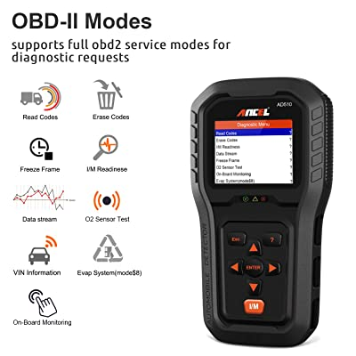 Ancel AD510 full OBD2 scanner that displays Freeze Frame data.