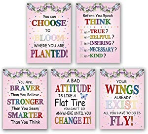 """5 Set- Watercolor Words Inspirational Quote Modern Wall Art Print Canvas Painting,Motivational Phrases Wall Art Poster for Classroom Nursery or Kids Room Home Decoration (Unframed,8""""X10"""")"""