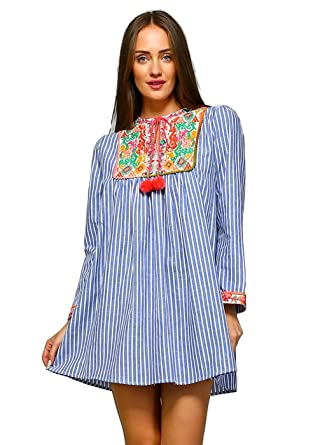 Velzera Women's Boho Vintage Embroidered Striped Tunic Dress Reg & Plus Size  (1X, ...