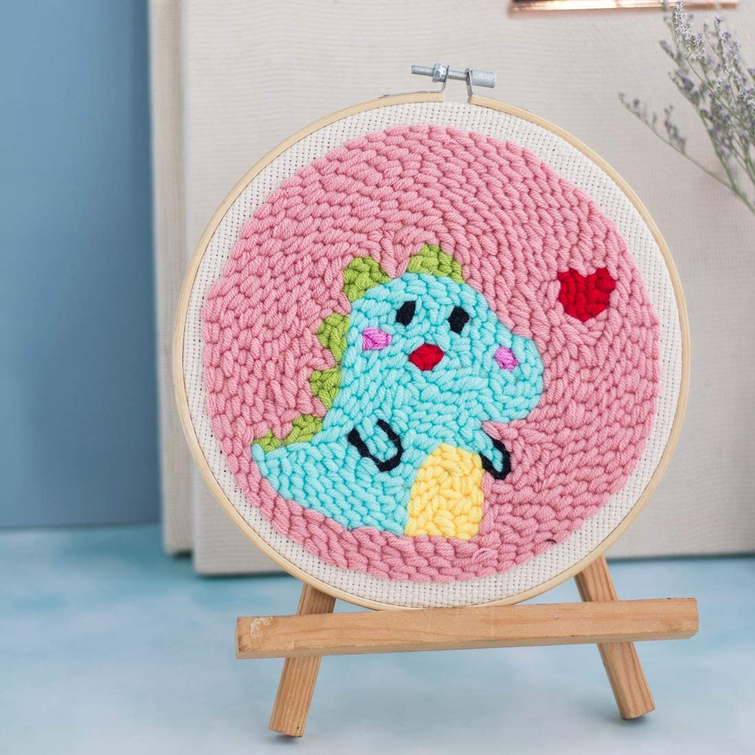Little Dinosaur HMANE DIY Rug Hooking Kit Handcraft Woolen Embroidery Knitting with Punch Needle Embroidery Frame Creative Gift with Punch Needle 20x20cm Embroidery Frame and Holder