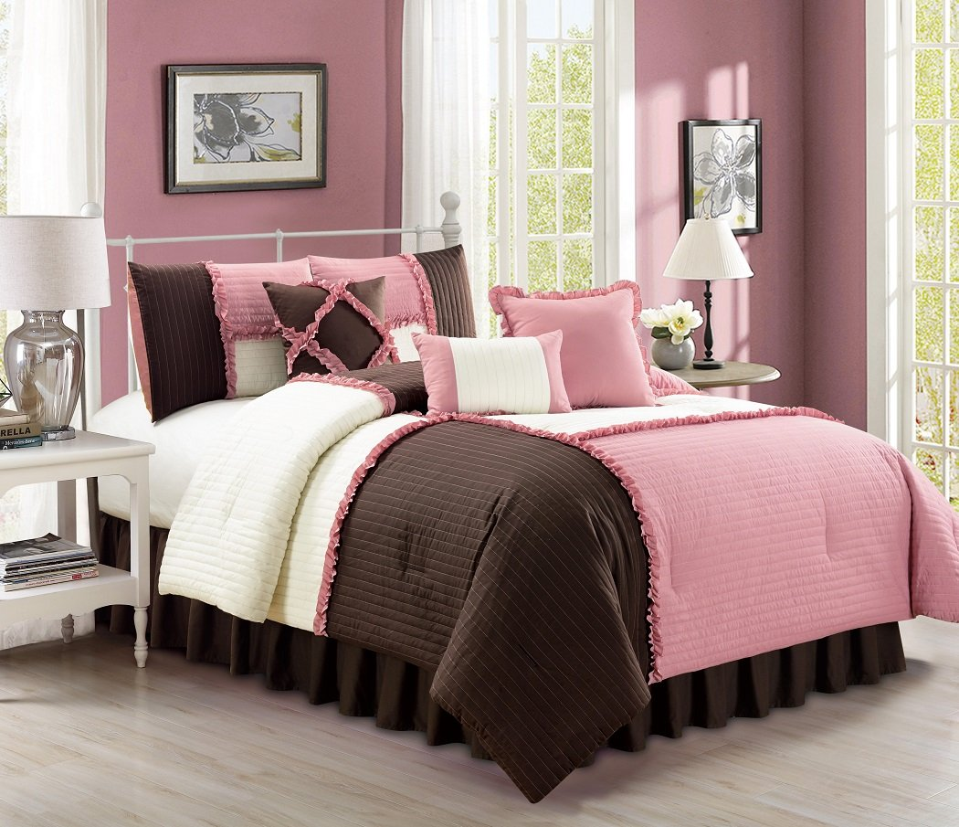 Luxury Ruffles Patchwork Rose Pink/Brown/Ivory Bedding Comforter Set, California King