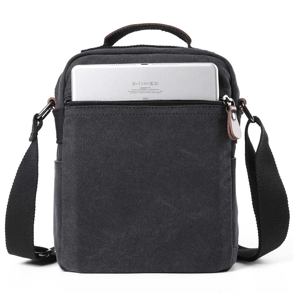 XINCADA Mens Bag Messenger Bag Canvas Shoulder Bags Travel Bag Man Purse Crossbody Bags for Work Business (black) by XINCADA (Image #4)
