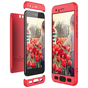 CE-Link Funda Huawei Honor 9, Carcasa Fundas para Huawei Honor 9, 3 en 1 Desmontable Ultra-Delgado Anti-Arañazos Case Protectora - Rojo