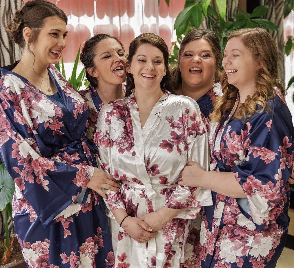 Bridal party Bridesmaid Robes Floral Black Satin Robe Kimono Silk Bridesmaid Gifts Monica Collection robes Set Bridesmaid Robes
