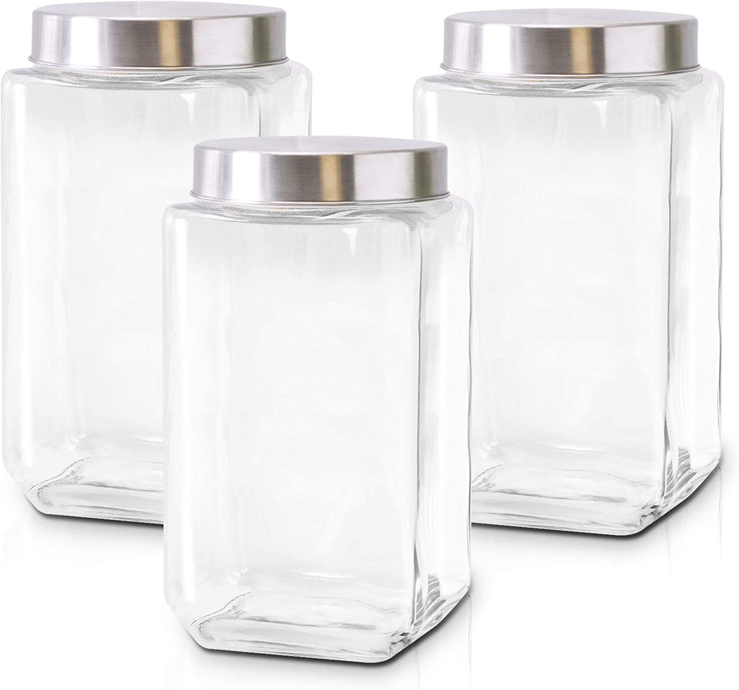 Glass Containers for Kitchen – Set of 3 Large Food Storage Containers – 70Oz Storage Jars with Stainless Steel Lids – Suitable for Snacks, Flour, Sugar, Pet Treats – Airtight Screw-On Lid