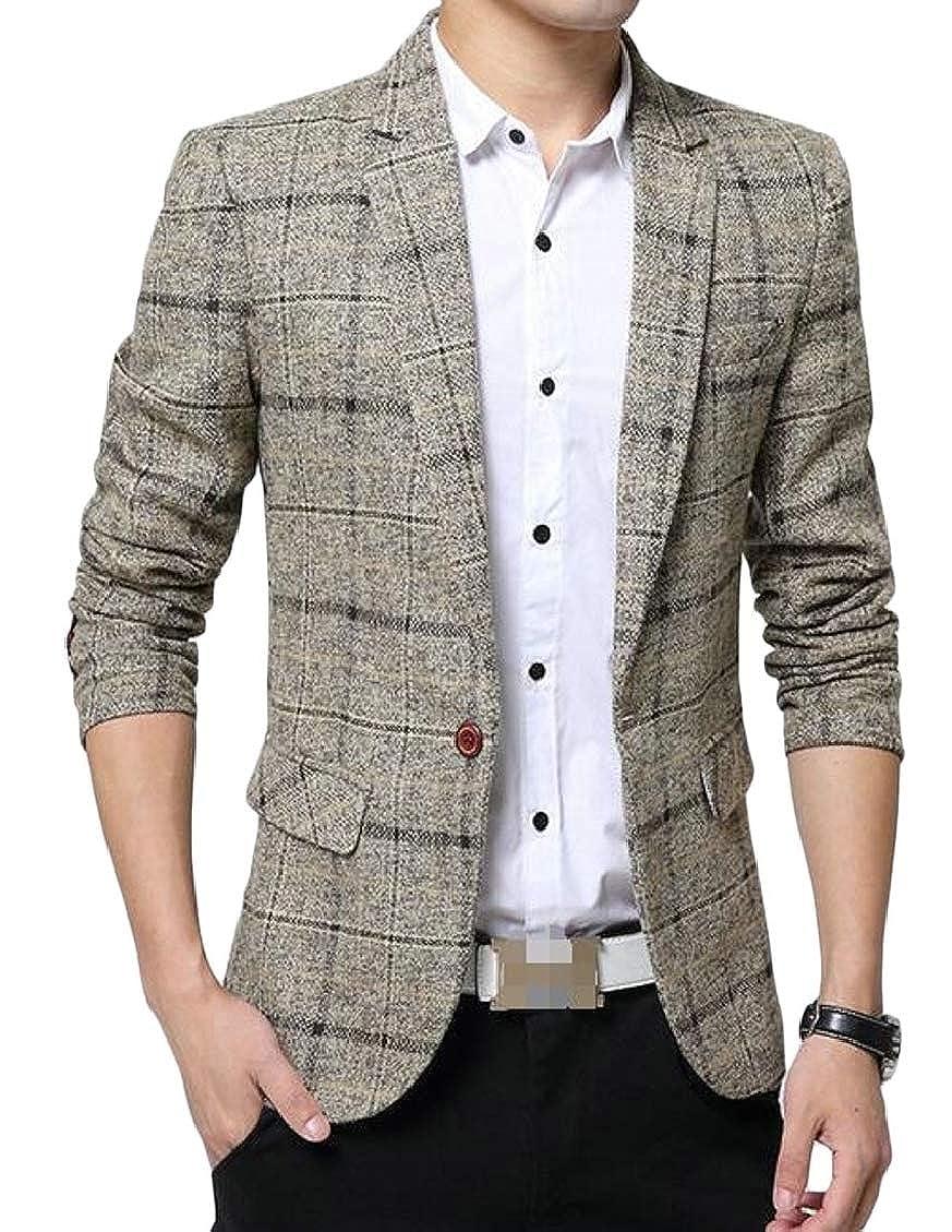 Hajotrawa Mens Casual Sport Coat Check Slim One Button Blazer Suit Jacket