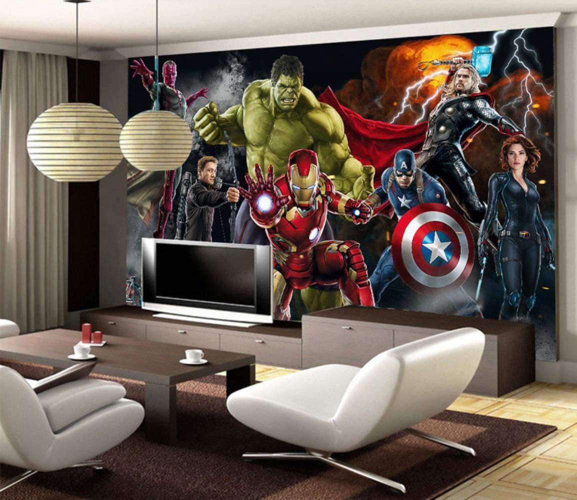Vengadores papel pintado 3D personalizado para pared Hulk Iron Man Capit/án Am/érica Mural de pared para dormitorio sala de estar dise/ñador