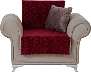 Chiara Rose Couch Covers for Dogs Sofa Cushion Slipcover 3 Seater Furniture Protectors Futon Cover, Chair, Acacia Burgundy