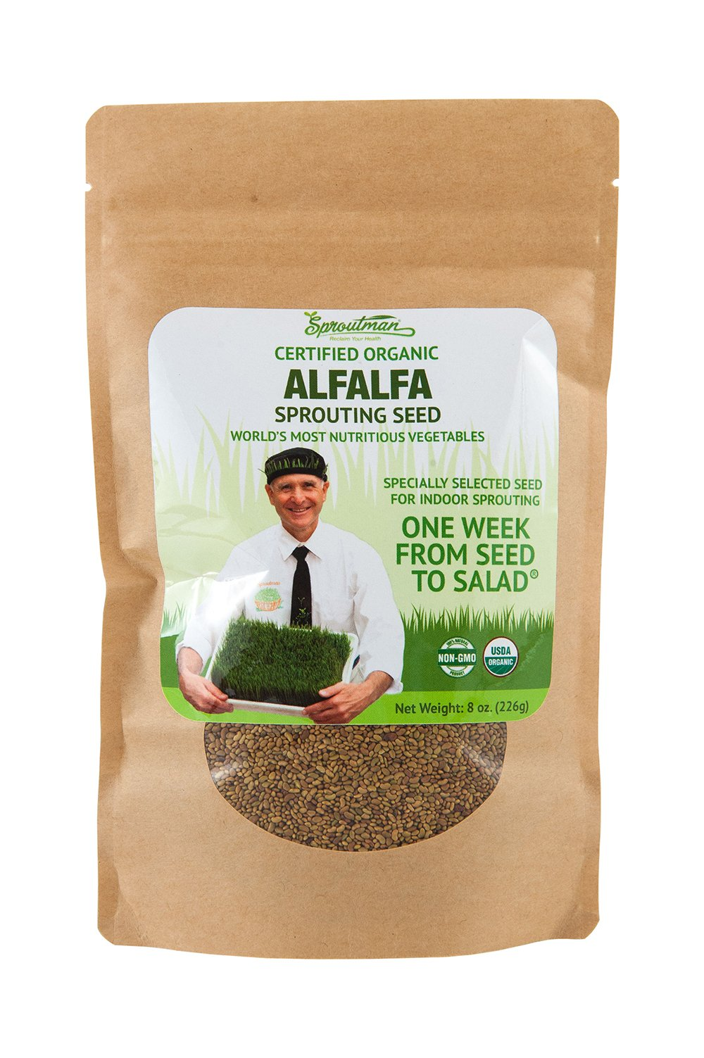 Sproutman 8oz Organic Alfalfa Sprouting Seed – Alfalfa Seeds for Sprouting, High Germination, Non-GMO, Certified Organic