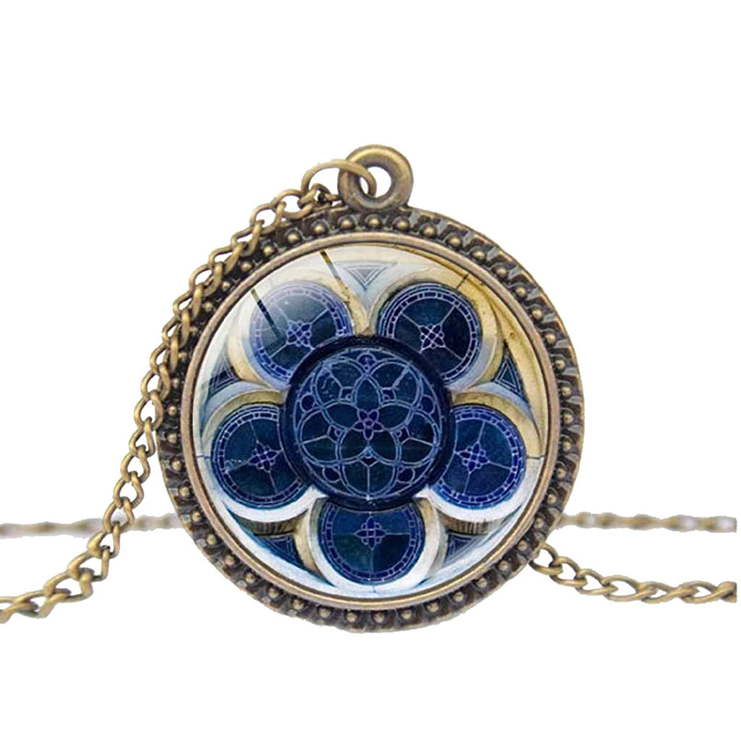 Amazon.com: Dmitongz Women Pendant Necklace Paris Cathedral Commemorate Choker Necklaces Rose Window Cufflinks Catholic Christian Necklaces: Jewelry
