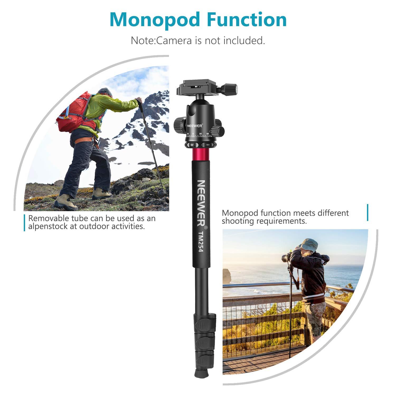 borsa da transporto per fotocamera e video camcorder 177 cm Treppiede monopiede portatile in lega di alluminio con testa pan girevole a 3 vie Neewer 10090794 blue Blu
