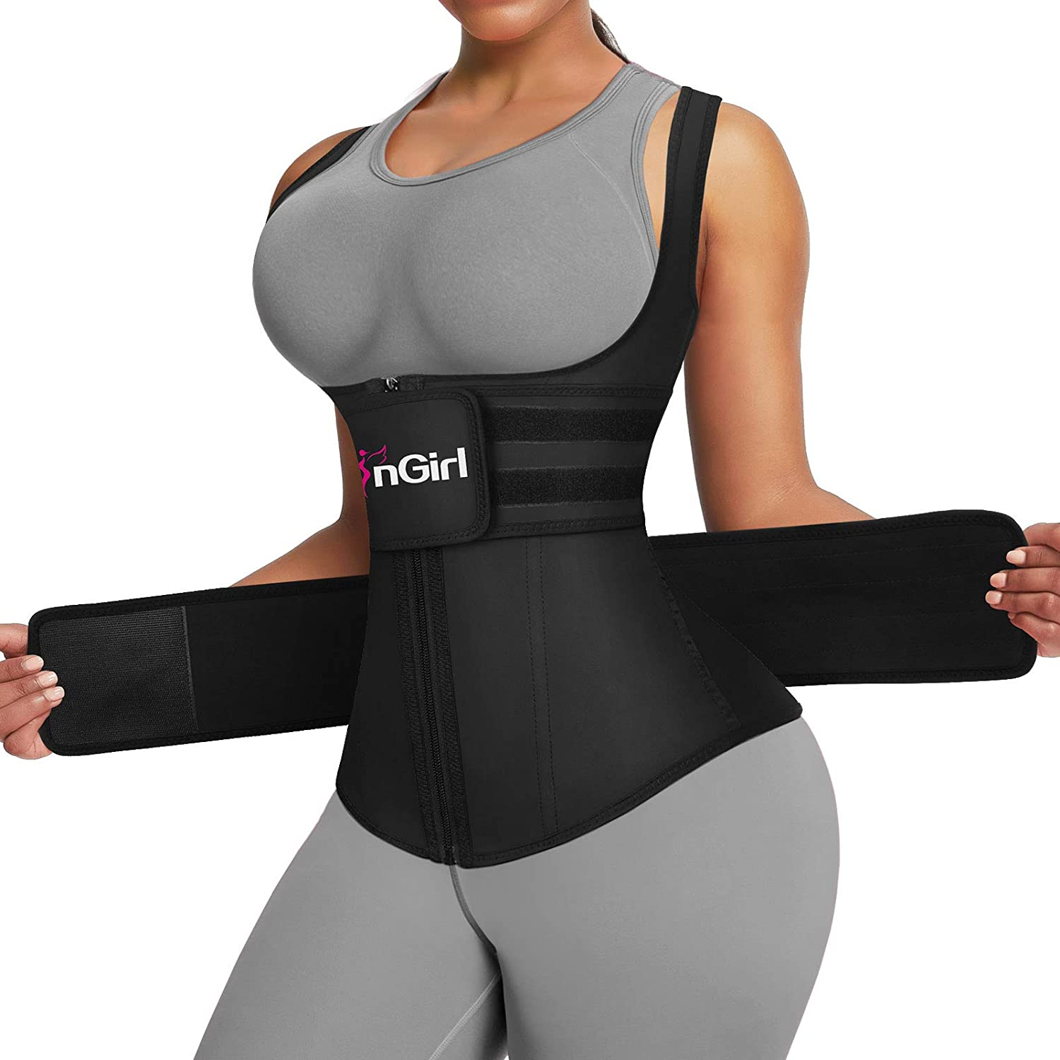 FeelinGirl Women's Latex Underbust Training Cincher Workout Waist Trainer Corset