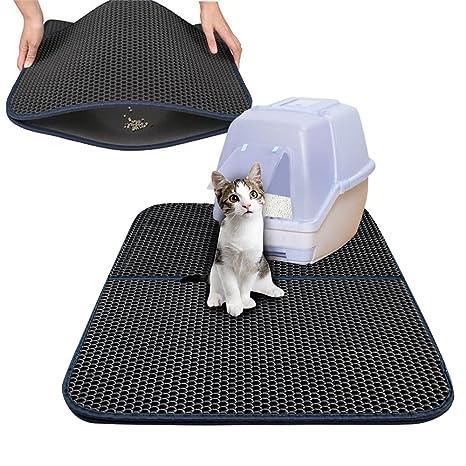 Alfombrilla de arena para gato con agujero negro, la alfombrilla grande de doble piel de
