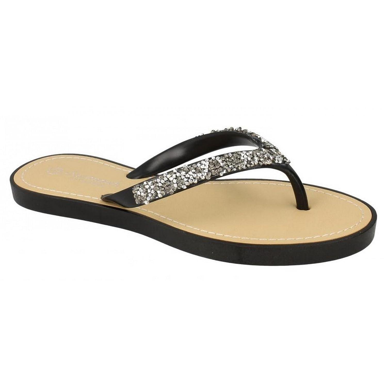 Savannah Damen Zehensteg-Sandalen/Flip Flops mit Glitzer-Design (37 EU) (Weiß) CbGZfa82