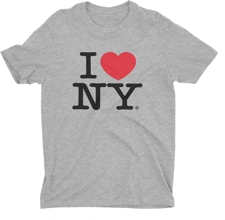 I Love NY New York Short Sleeve Screen Print Heart T-Shirt Gray