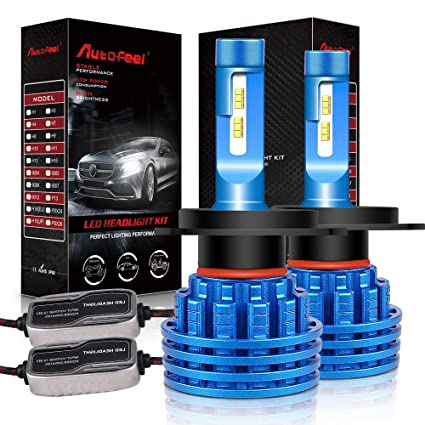 Autofeel H4 LED Headlight Bulbs 8000LM IP68 Super Bright Car Exterior White Light Built-in