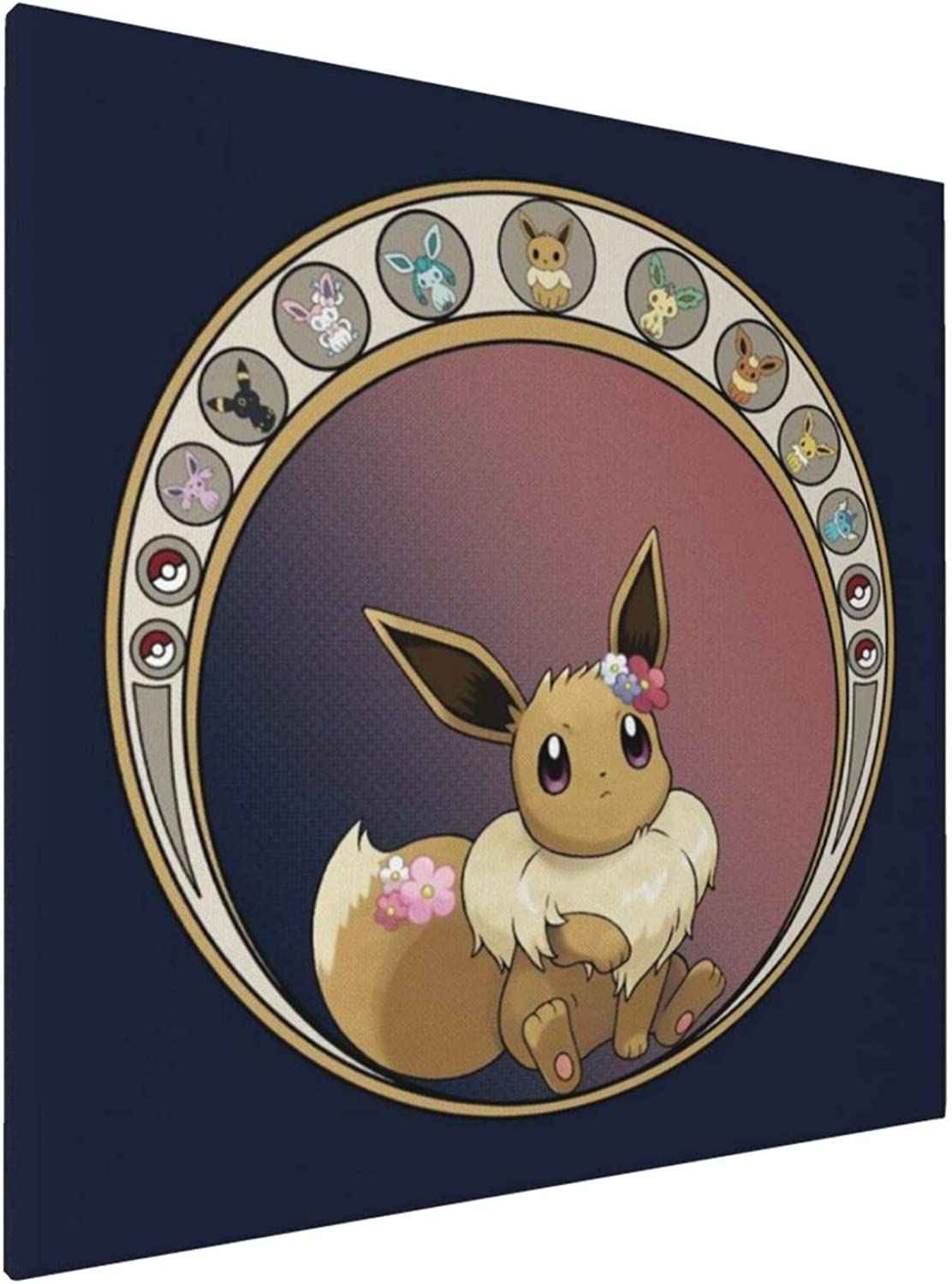 1007 Canvas Prints Wall Art Paintings(20x20in) Monster of The Pocket Eeveelution Circle Pictures Home Office Decor Framed Posters & Prints