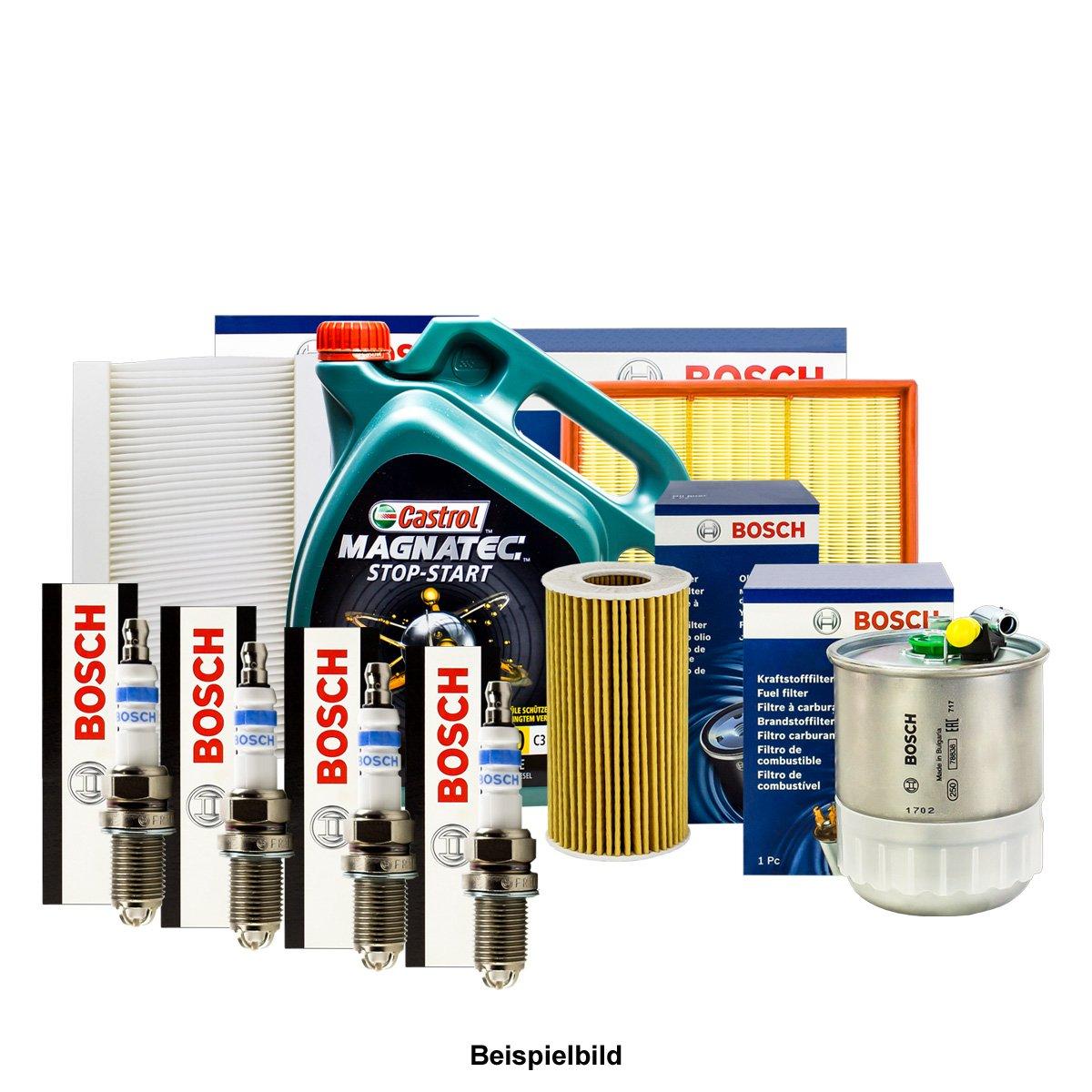 Bosch inspektions Juego 4 Filtro + Velas + 5L Castrol 5 W de ...