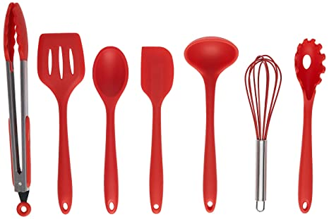 SimplexSilicone Classic 7pc Premium NonStick Heat Resistant Silicone  Cooking Kitchen Utensils with Hygienic Solid Coating - Includes Spoon,  Spatula, ...