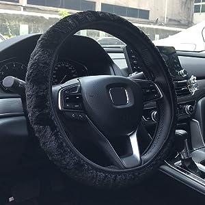 KAFEEK Long Microfiber Plush Steering Wheel Cover for Winter Warm, Universal 15 inch, Anti-Slip, Odorless, Black