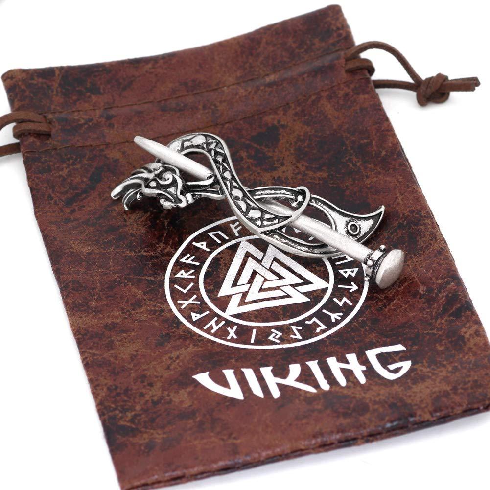 GuoShuang Wikinger skandinavische Haarnadel Haarspange Zubeh/ör Amulett Schmuck mit Valknuss Geschenkbeutel