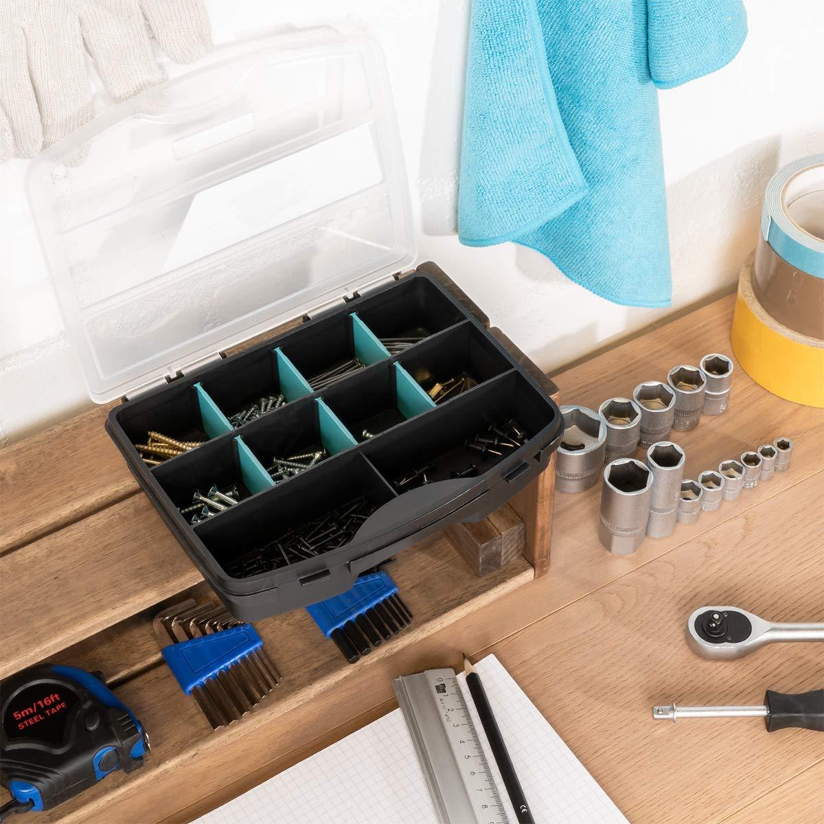 Compartimentos de diferentes tama/ños para almacenaje de tuercas Navaris organizador de tornillos Caja de almacenaje de pl/ástico para bricolaje
