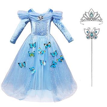 9ff95032845 Robe Princesse Fille Hiver Bleu Manches Longues LiUiMiY Déguisement Costume  Enfant Bébé Halloween Carnaval Noël Cosplay