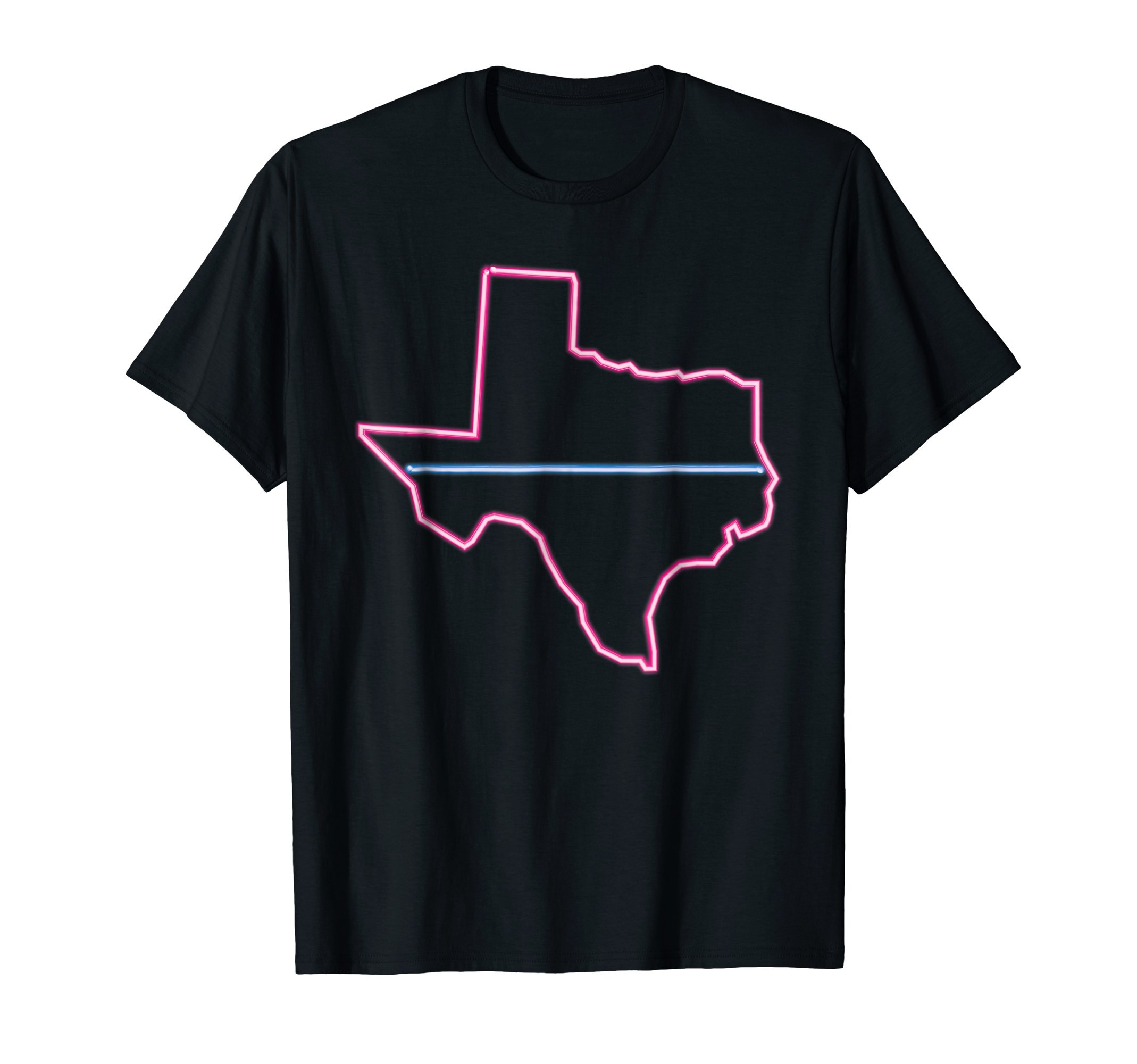 State of Texas Shirt Thin Blue Line Retro Neon Light Sign