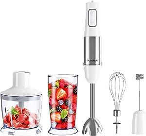 homgeek Immersion Hand Blender, 500W 6-Speed 5-in-1 Stainless Steel Stick Blender with BPA-Free Food Chopper, 600ml Beaker, Egg Beater, Milk Frother