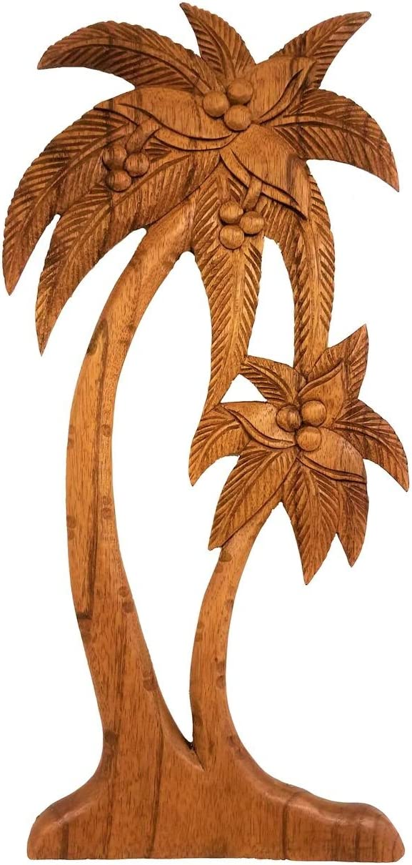 All Seas Imports Gorgeous HANDCHISELED Mahogany Wood Palm Tree Wall Art with Wall Hanger