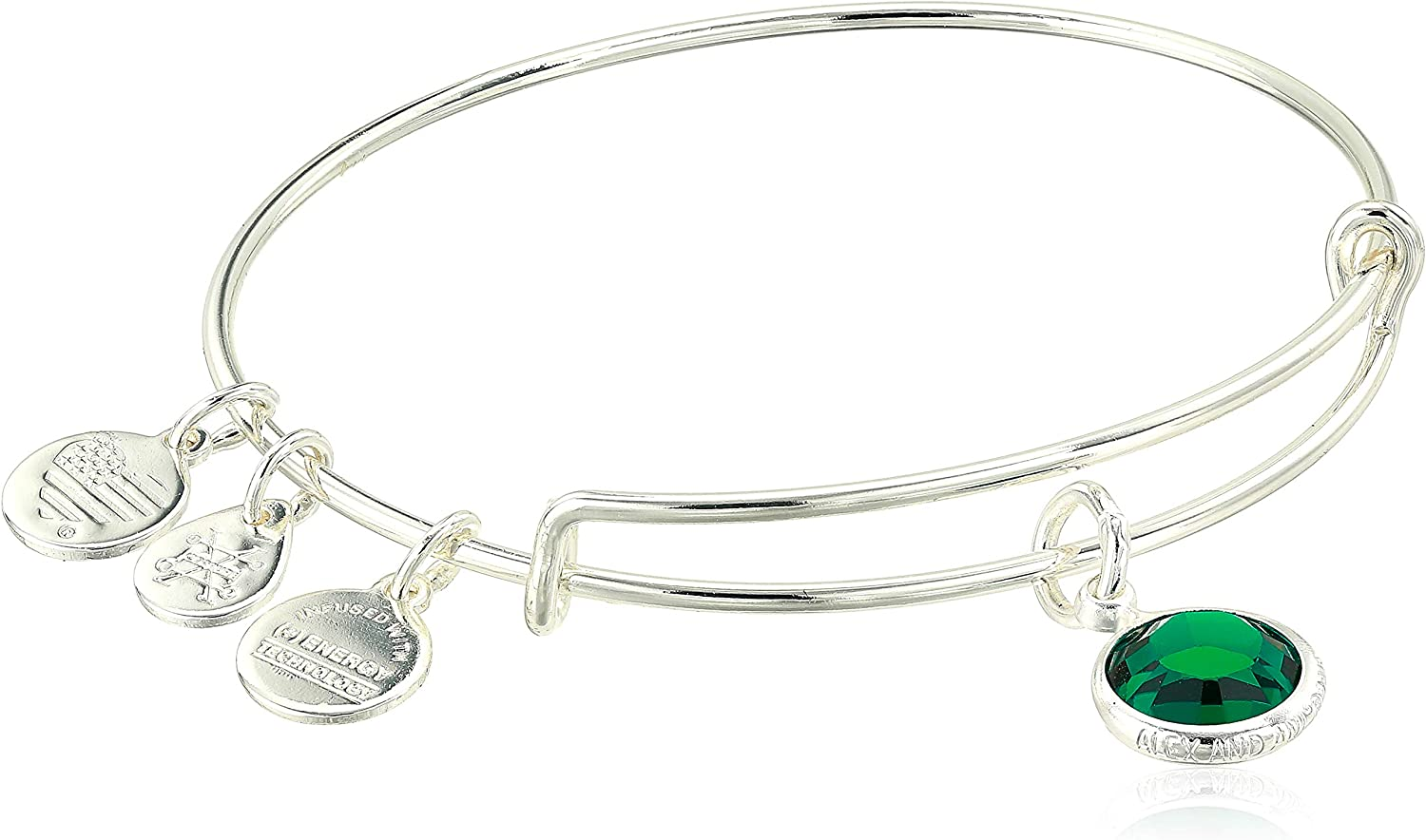 Alex And Ani Replenishment 19 - Pulsera con dije de Swarovski para mujer, color esmeralda, plata brillante, ampliable