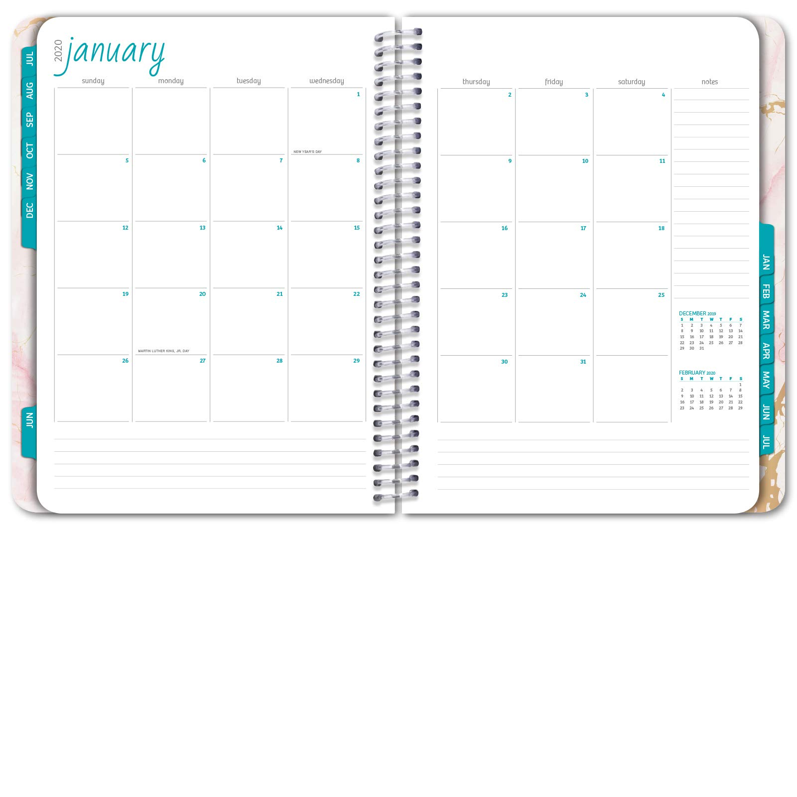 HARDCOVER Academic Year 2019-2020 Planner: (June 2019 Through July 2020) 8.5''x11'' Daily Weekly Monthly Planner Yearly Agenda. Bonus Bookmark, Pocket Folder and Sticky Note Set (Pink Marble) by Global Printed Products (Image #5)
