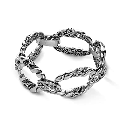 80c1b9783d1 Amazon.com: Carolyn Pollack Sterling Silver Open Scroll Rope Link Bracelet  Size Large: Jewelry