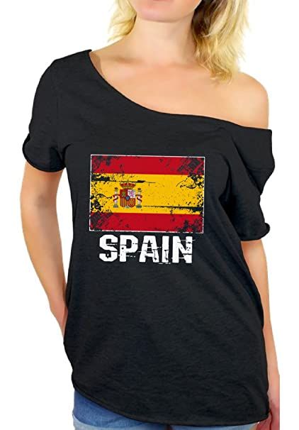 a4993111 Awkward Styles Spain Shirt Off Shoulder Spain Flag Tshirt Her Spain Gifts  Black S