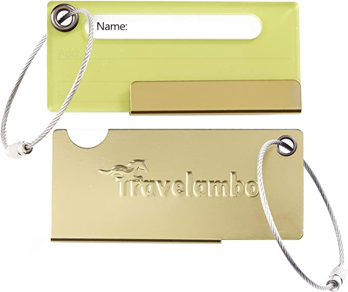 Travelambo Luggage Tags /& Bag Tags Stainless Steel Aluminum Various Colors Army Green 10 pcs Set