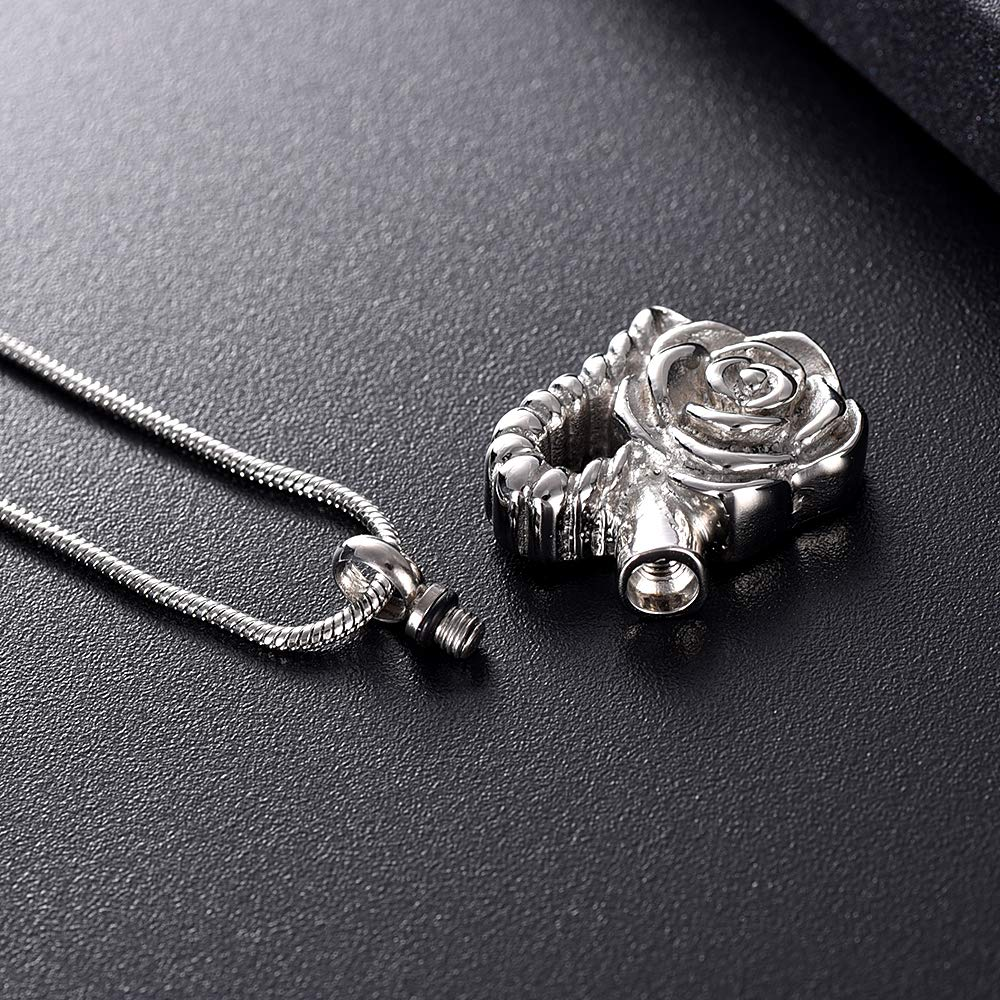 Davitu K12440 Flower /& Heart Cremation Jewelry for Ashes Pendant Stainless Steel Urns Memorial Keepsake Funeral Necklace for Men Women Metal Color: Silver, Main Stone Color: 3pcs Necklace