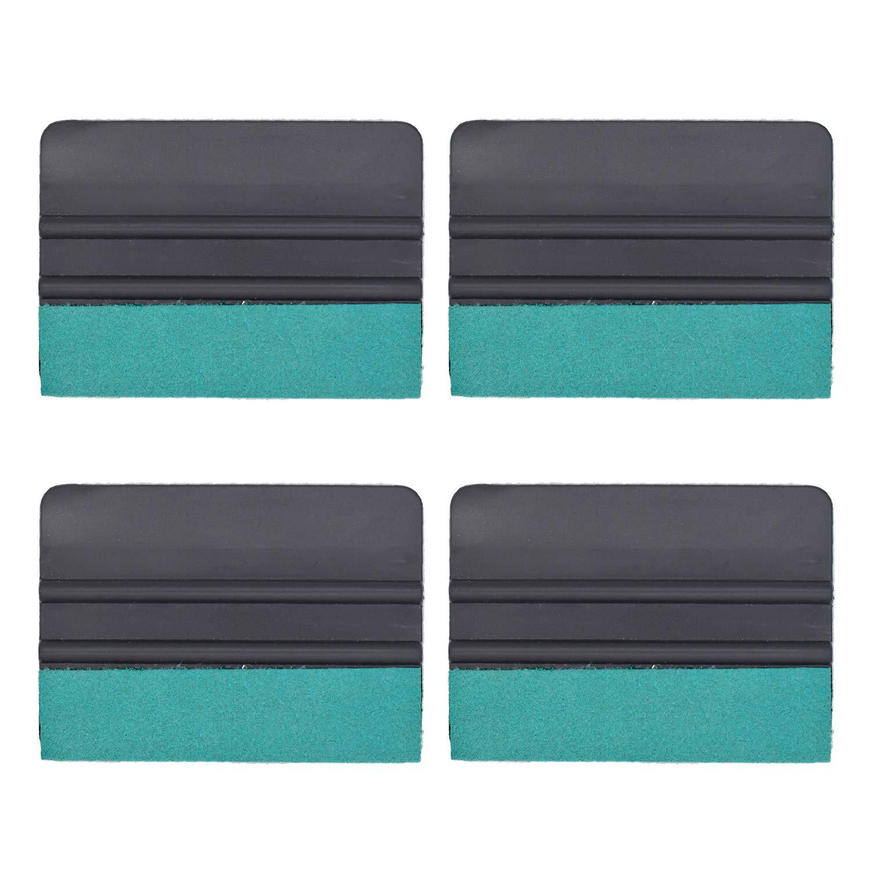 GUGUGI CARTINTS 4 Pack Black Auto Vinyl Wrap Tool Felt Edge Squeegee Vinyl Film Scraper Decal Applicator Tool Wallpaper Tool Window Tint Tool with Suede Felt Edge 4Inch